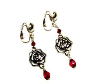 Red Earrings ~ Red Drop Earrings ~ Red Clip Earrings ~ Red Rose Earrings
