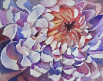Spider Mum- Floral Watercolor ORIGINAL painting by SriWatercolors - 25 x 18 in