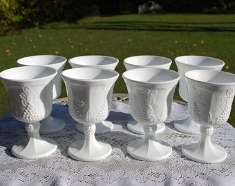 Set of Eight Vintage Colony Harvest Goblets by Indiana Glass