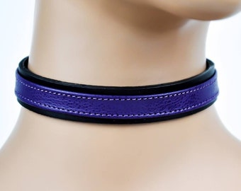 "Black Leather With Purple Strap Choker Necklace Collar 3/4"" Wide"
