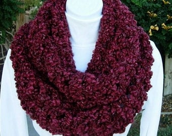 INFINITY SCARF Loop Cowl Dark Wine Red Burgundy Large Thick Bulky Chunky Wide Big Soft Winter Handmade Crochet Knit..Ready to Ship