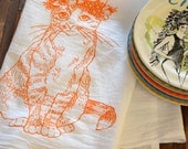 Tea Towel - Screen Printed Flour Sack Towel - Absorbent Kitchen Towel - Handmade - Cat - Kitty - Floral - Dish Towel - All Natural Cotton
