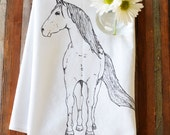 Tea Towel - Screen Printed Flour Sack Towel - Dish Towel - Handmade - Horse - Pony - Flour Sack - Rustic Kitchen Towel - Mothers Day Gift