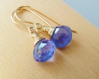 Tanzanite drop earrings. Dangle earrings. Gift for her. Birthstone earrings. December birthstone. Lavender Tanzanite earrings. Gift