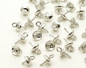 CP-042-OR / 8 Pcs - Simple Bead cap with Peg, Silver Plated over Brass / 5mm