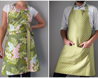 Reversible Apron / green floral herringbone print gift for couple kitchen accessory retro home and garden bridal shower housewarming