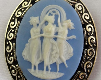 Made in Germany Wdgewood Blue Cameo Brooch. Acrylic Brass Acrylic Apparel & Accessories Jewelry Vintage Jewelry Brooch Cameo