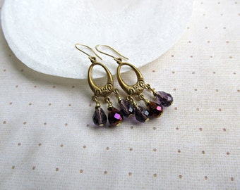 Chandelier earrings, Purple Teardrop earrings