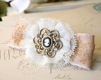 Bridal Hair Clip with Vintage Cameo, Peach Hair Bow, Floral Hair Barrette, Bride Hairpiece, Flower Girl Hair Clip, Ribbon Hair Bow Barrette