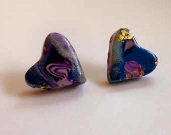 Blue Heart Stud Earrings Valentine's Day Earrings Hand Made