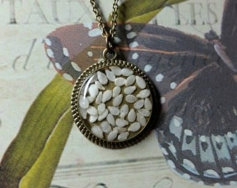 Delicate Sesame Seed Necklace in Antique Bronze
