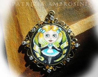 Alice ..original painting necklace.... Handpainted Vintage Style Frame ..victorian..