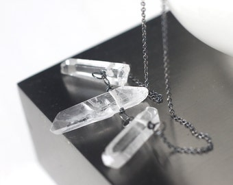 Raw Quartz Necklace in Oxidized Sterling Silver, Rock Crystal Tri-Point Necklace