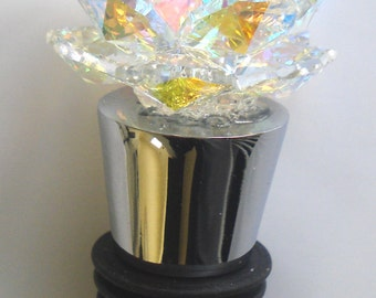 AB Crystal Rose Wine Stopper Handcrafted By The Artisans At Bjcrystalgifts Using Swarovski Crystal With Stand