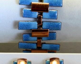 Matisse Renoir Enamel Copper Bracelet Earrings Demi Parure 1950s