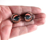 creepy doll eye collar pins . scatter pin set of 2 . wooden doll eye brooch set . doll eye tie tack pins . Halloween lapel pins . #K