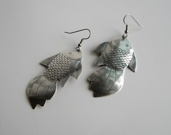 large fish earrings . Hill tribe silver goldfish earrings . statement jewelry
