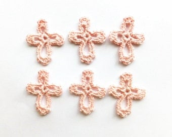Crochet crosses applique - light pink cross embellishment - baby christening favors - baptism favors - baby shower gifts - set of 6