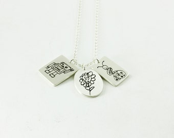 Children's artwork charm necklace