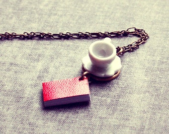 Book and Tea Cup Necklace, Red Book Necklace, Miniature Book Necklace, Teacup Necklace, Coffee Cup Necklace