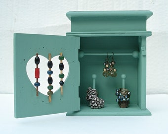 Jewelry armoire in Sage Green - for your rings and earrings - Cute Stocking Stuffer!