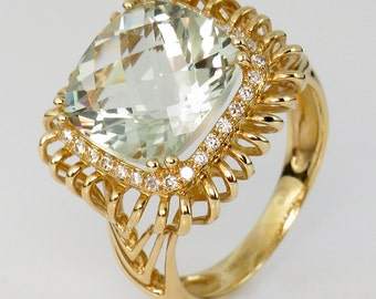 Green Amethyst and Diamond 14K Yellow Gold Ring