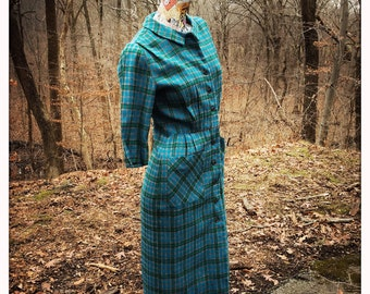 60s Teal Blue Wool Dress                                International Shipping