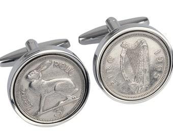 52nd birthday present- 1965 Irish coin  cufflinks - Genuine 1965 coin - 100% satisfaction - 3 day shipping