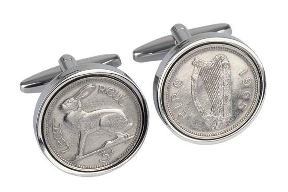51st birthday present- 1965 Irish coin  cufflinks -Genuine 1965 coin-Irish present