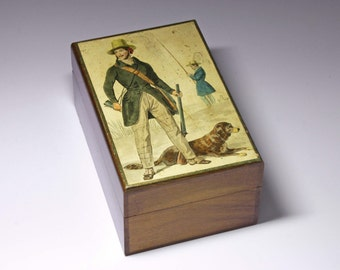 Vintage Wooden Cigarette Box from England - circa 1960'd