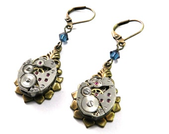 Steampunk Earrings Upcycled Clockwork Watch Movement with Ruby Jewels & Montana Blue Accent
