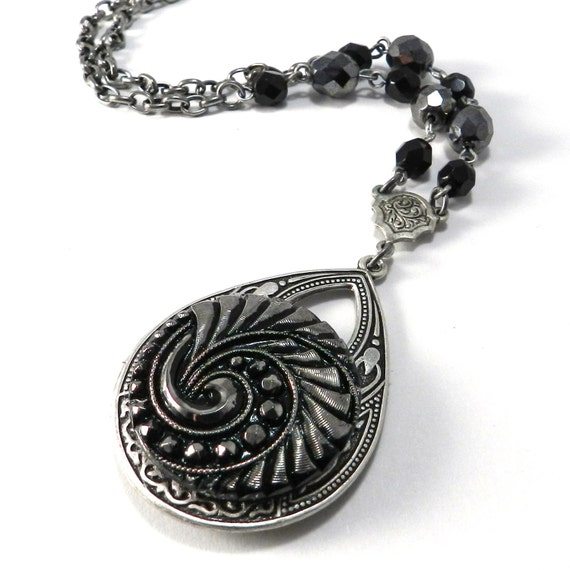 Victorian Necklace - Antique Button Teardrop Jewelry - Silver Steel & Ebony - Edwardian Steampunk Jewelry by Compass Rose Design