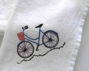 Blue Bicycle Napkins,Cotton Flour Sack, Napkin Set of 2, Bicycle Wedding Napkins, Cycling Napkins, French Napkins,Everyday Party Napkins,