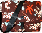Ready to Ship Orchids Flowers Butterflies Rust Blue Cream Fabric Convertible Messenger Backpack Camera Computer Diaper Laptop Bag