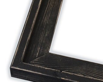 Farmhouse Distressed Frame, Black, Hand Painted, Rustic Picture Frame, Stacked, Many Sizes, 4x6, 5x7, 8x10, 16x20, And More