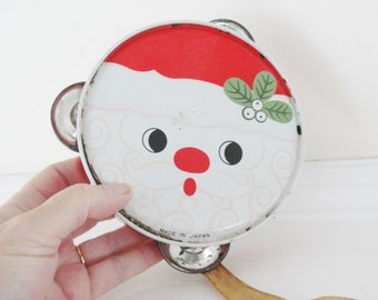 Vintage Christmas Toy Instrument, Christmas Santa Toy Tambourine, Vintage Santa Toy Musical Instrument