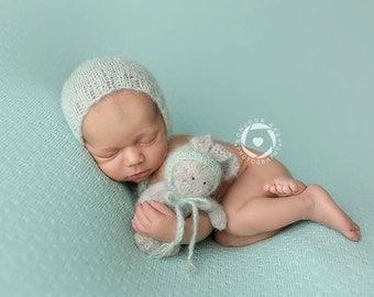 Newborn Girl Photo Prop Set, Mint Newborn Bonnet, Newborn Photo Prop Bunny Set, Newborn Mohair Silk Bonnet, Stuffed Animal, Baby Photo Props