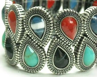 Wide Bohemian Bracelet - Multicolor Teardrop Bangle - Southwest - Tribal - Turquoise - Red - Black - Stretch - Teardrop Cabochons - Boh