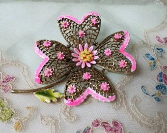 Art Signed Hot Pink Flower  Brooch