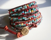 Leather Wrap Bracelet Southwestern Wrap Bracelet Turquoise Wrap Bracelet