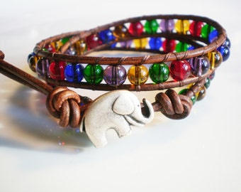 Elephant Bracelet Elephant Jewelry Glass Bracelet Circus Bracelet leather wrap bracelet