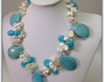 Turquoise Howlite Pearls Statement Necklace