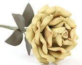 SALE Yellow Leather Rose, Third Wedding Anniversary Gift Long Stem Flower Valentine's Day 3rd Leather Anniversary Mother's Day
