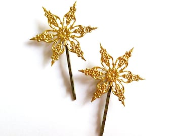 Snowflake Hair Accessories Gold Snow Flake Bobby Pins Bridal Clips Bride Bridesmaid Headpiece Winter Weddings Christmas Womens Gift For Her