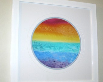 Rainbow landscape, wall art, white or black background, gift 22, home decor, red, orange, yellow, green, blue, purple, rainbow art