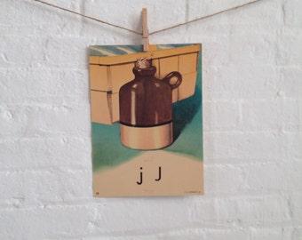 Vintage Large Flashcard J is for Jug - Picture Flashcard