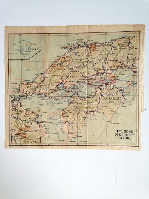 Japanese Tourism  Map Prior to Bombing of Pearl Harbor - Tyugoku District and Sikoku