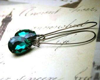 Emerald Green Vintage Glass Jewel Earrings- Long Jewelled Teardrop Earrings - Dark Green - Designer Patina Brass