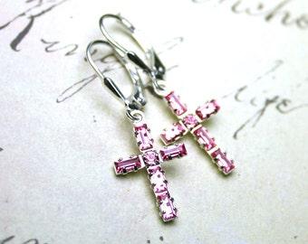 Baguette Crystal Cross Earrings in Light Pink- Swarovski Crystal and Sterling Silver - Sterling Silver Leverbacks