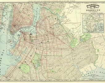 Vintage BROOKLYN MAP - Old Map 1891 Brooklyn NY -  Colorful Antique Map Instant Download Digital Printable Map